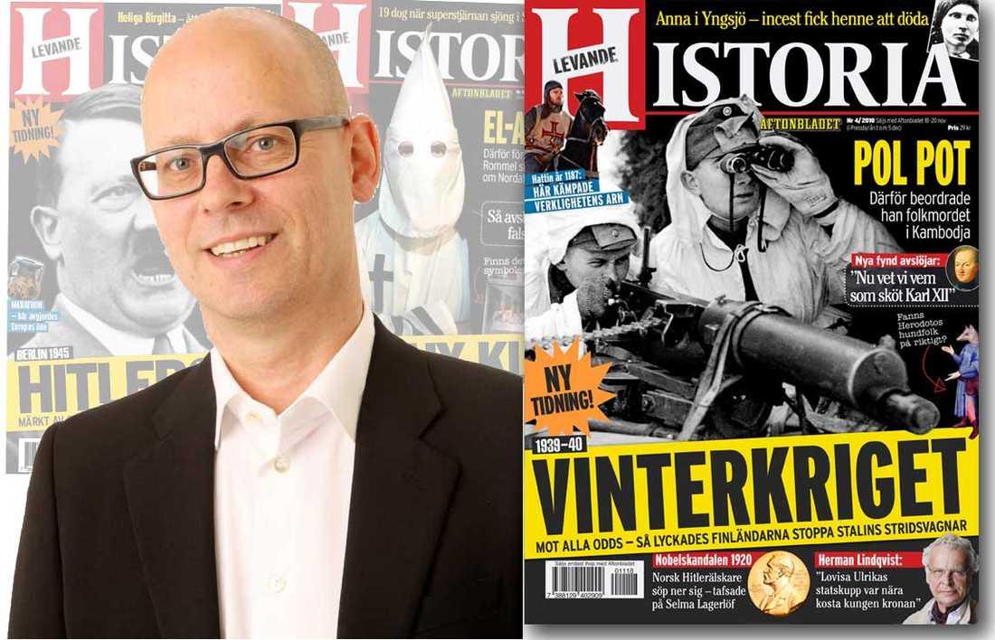 Redaktör Åke Persson med nummer 4 av tidningen Levande Historia.
