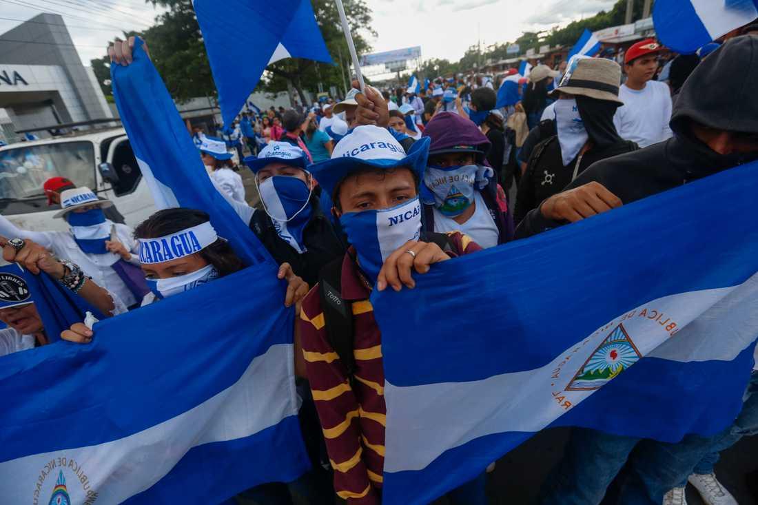 Demonstrationer i huvudstaden Managua i september.