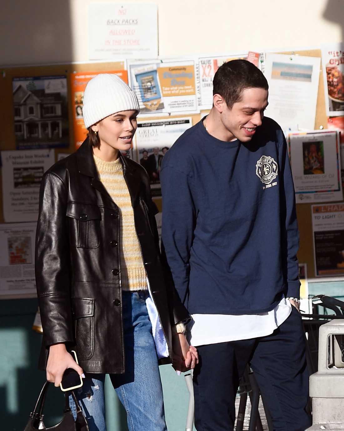 Kaia Gerber och Pete Davidson fångades på bild i New York i onsdags.