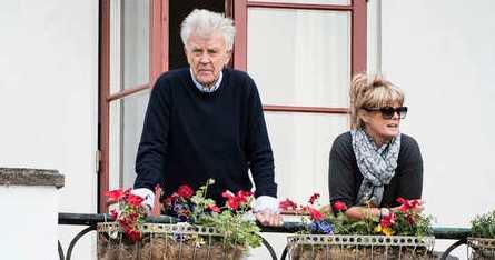 Sven-Bertil Taube med hustrun Mikaela.