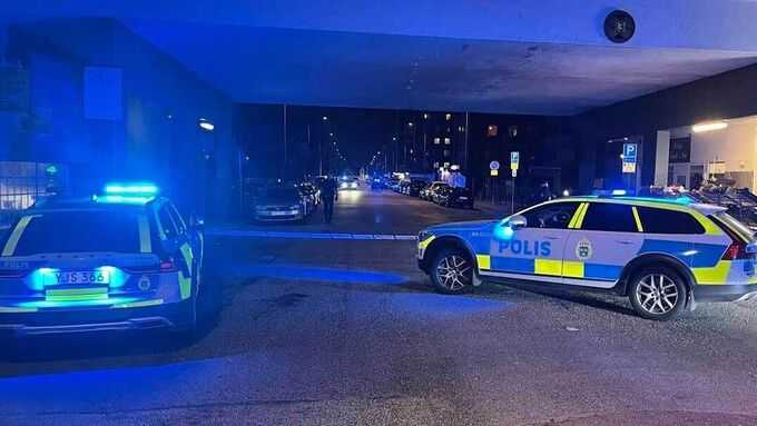 Polisen på plats efter händelsen.