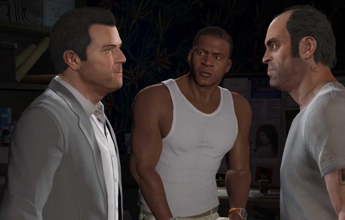 """Michael, Franklin och Trevor – huvudkaraktärerna i """"GTA V""""."""