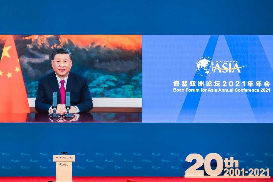 Xi Jinping höll sitt tal till Boao via videolänk.