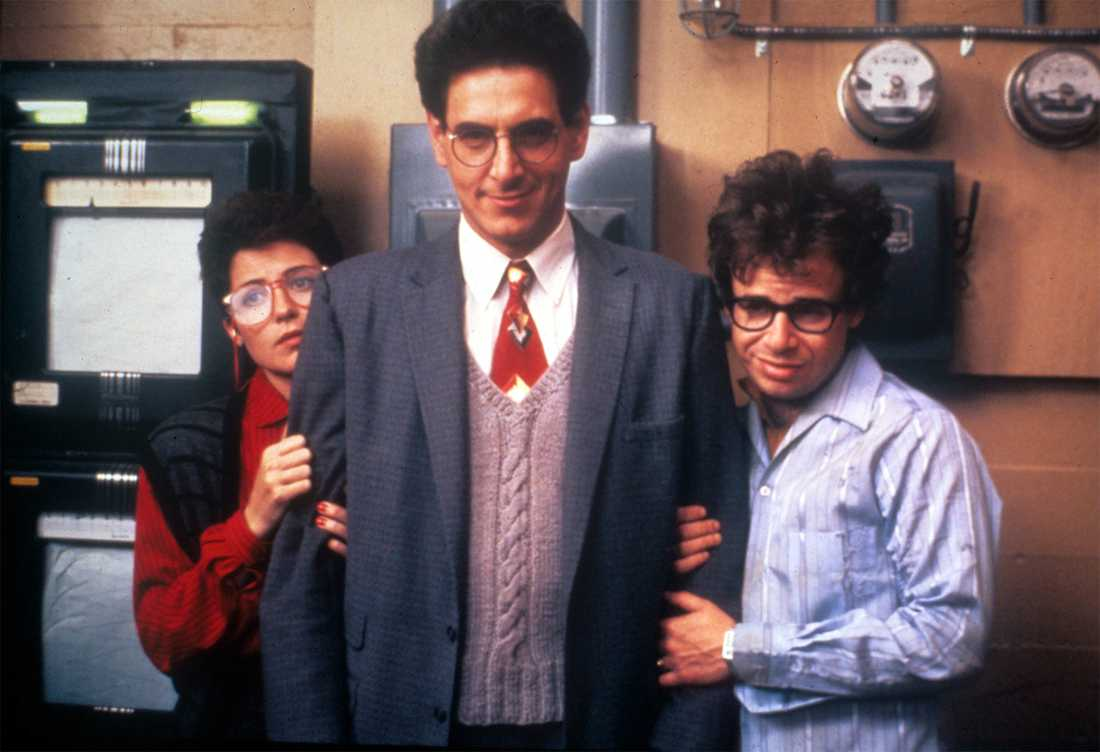 Annie Potts, Harold Ramis och Rick Moranis i Ghostbusters.