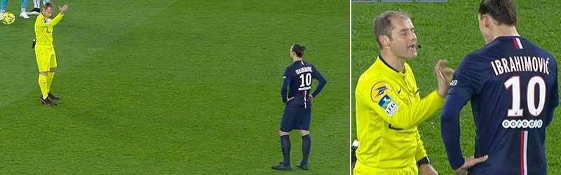 Domaren vinkade till sig Zlatan Ibrahimovic. Det slutade med att domaren själv fick gå fram till svensken.