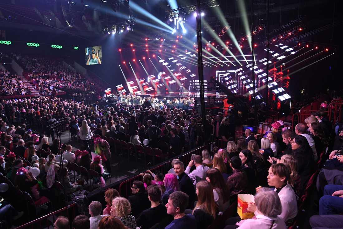 Fullsatt på Malmö Arena inför deltävling 3 i Melodifestivalen 2018.