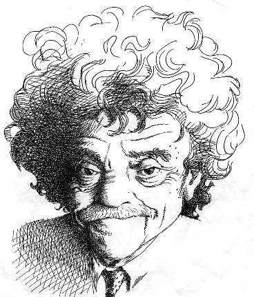Kurt Vonnegut. Teckning: TULLIO PERICOLI