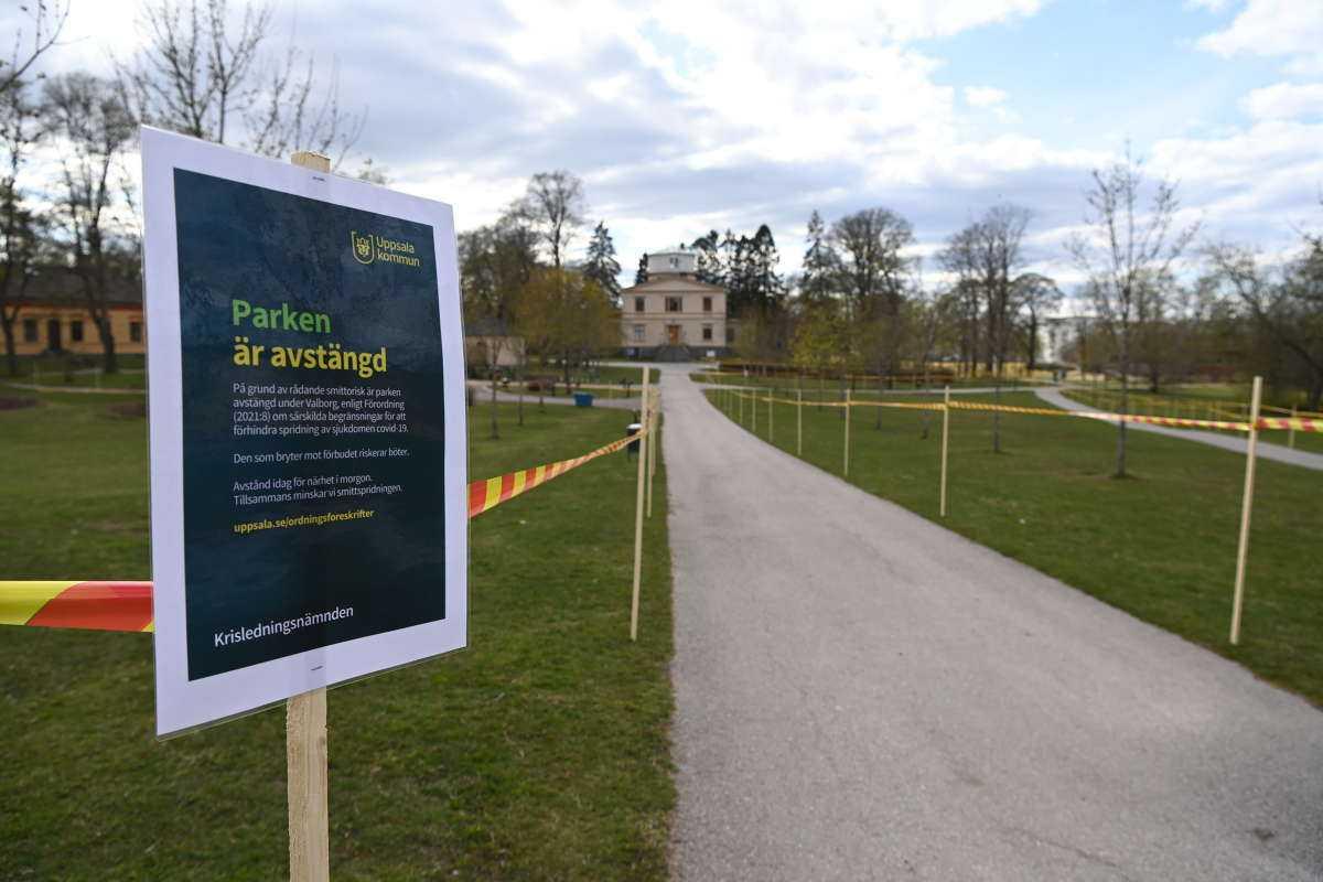 I Uppsala är parkerna avstängda.