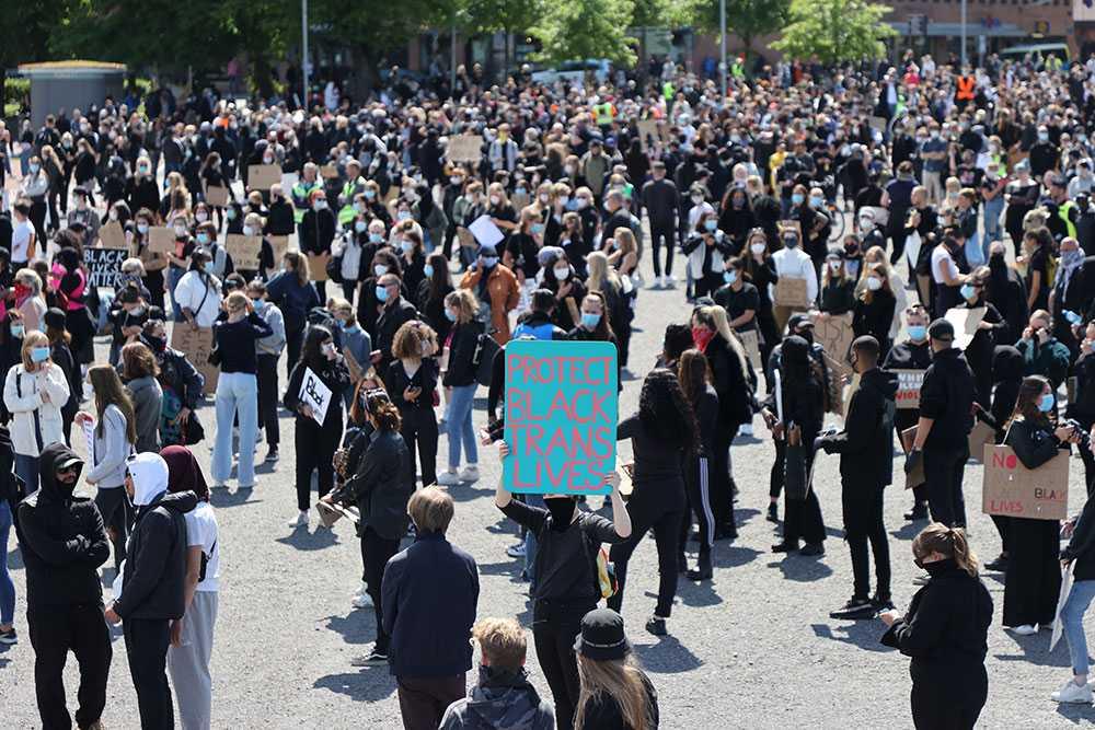 Black lives matter-demonstrationen på Heden i Göteborg.