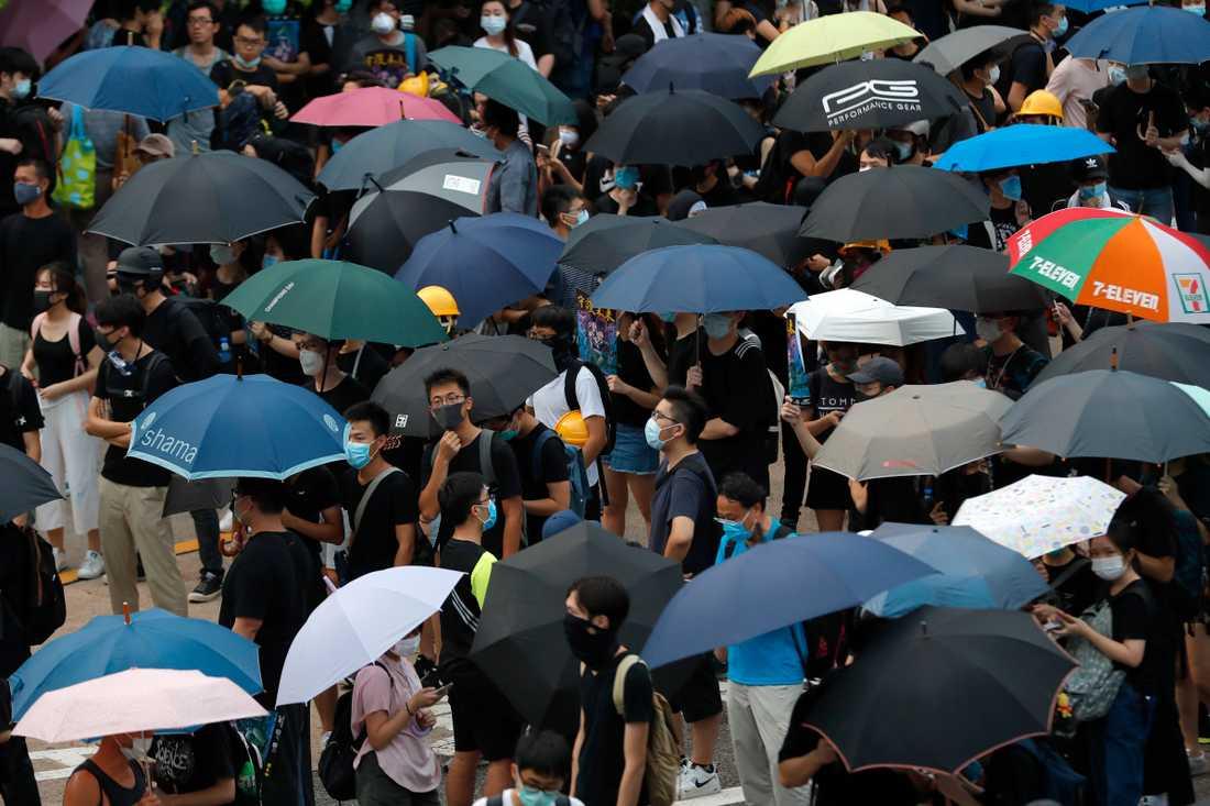 Demonstranter under paraplyer samlas på en motorväg i Hongkong.