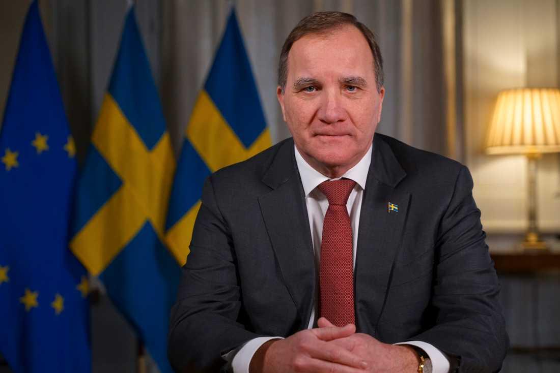 Statsminister Stefan Löfven (S) under sitt tal till nationen på lördagskvällen.