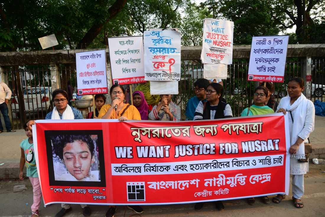 Demonstration i Bangladesh huvudstad Dhaka efter mordet på Nusrat Jahan Rafi.