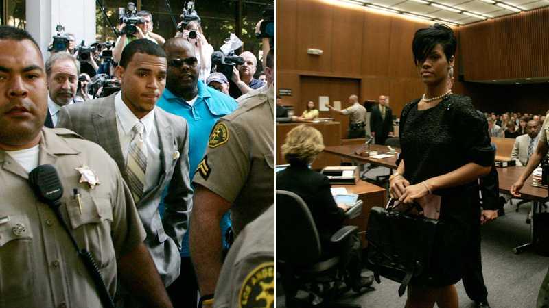 Chris Brown på väg till domstolen. Rihanna klädd i svart.