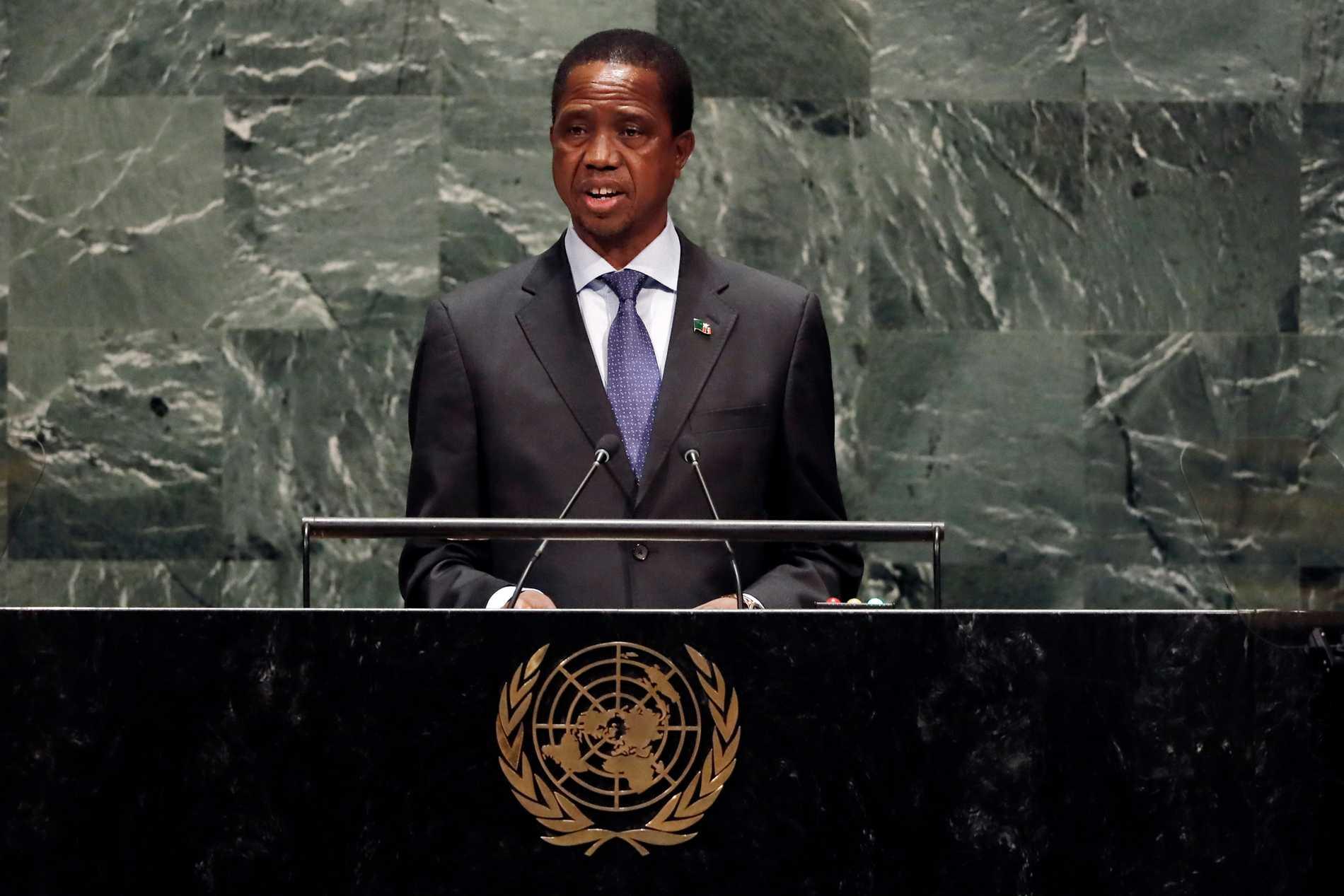 Zambias president Edgar Lungu, på bilden i FN:s generalförsamling 2019, har kallat in armén.