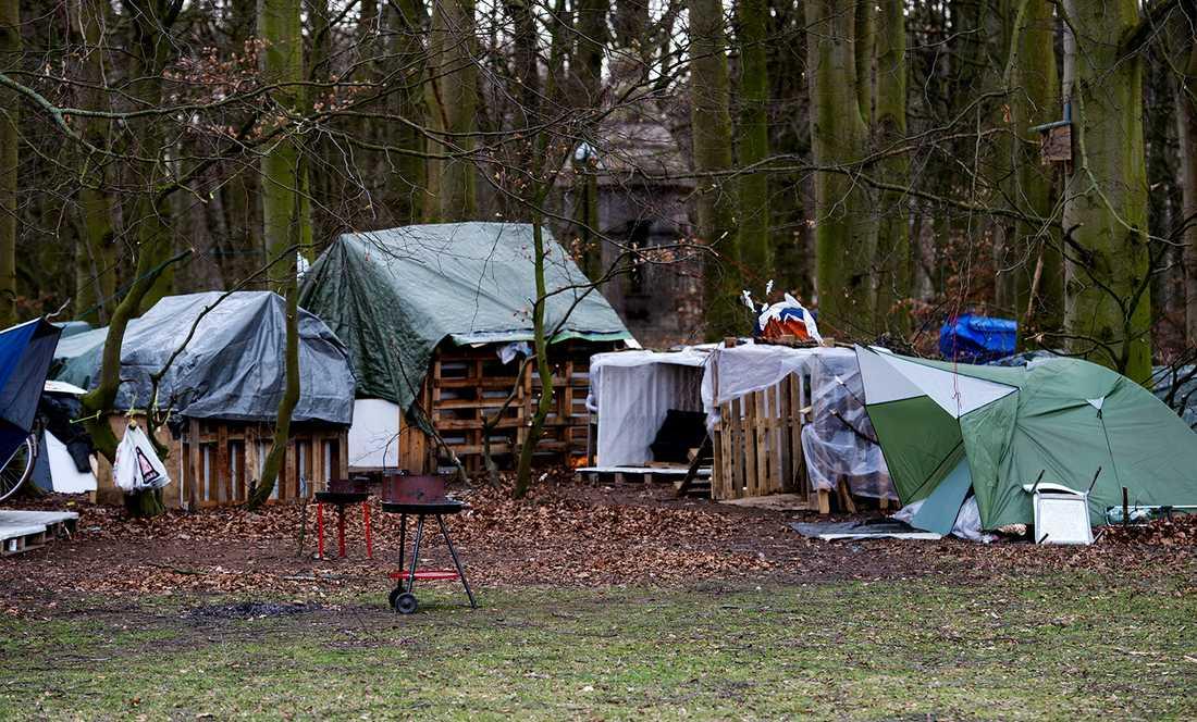 EU-migrantlägret i Pildammsparken i Malmö.