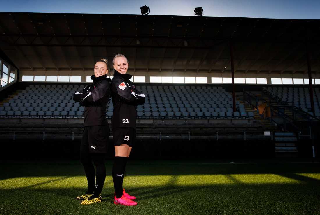 Rosengårds spelare Hanna Bennison (Till vänster) och Sofie Svava (till höger).