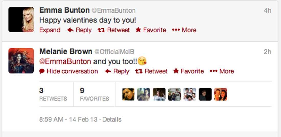De forna Spice Girls-tjejerna Emma Bunton och Mel B önskar varandra glad Alla hjärtans dag på Twitter.