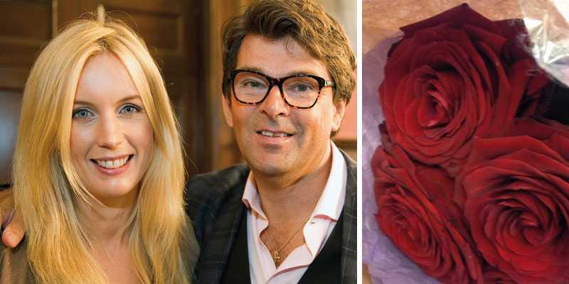 """Jenny Strömstedt blev glatt överraskad av maken Niklas idag: """"Går hem och är kär efter att ha fått besök av @poptonten (Niklas Twitter-namn, reds. amm.) som medverkar i Efter tio""""."""