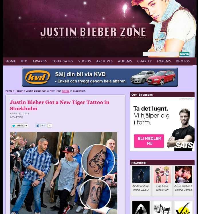 Även fansajten Justin Bieber Zone plockade upp Nöjesbladets avslöjande.