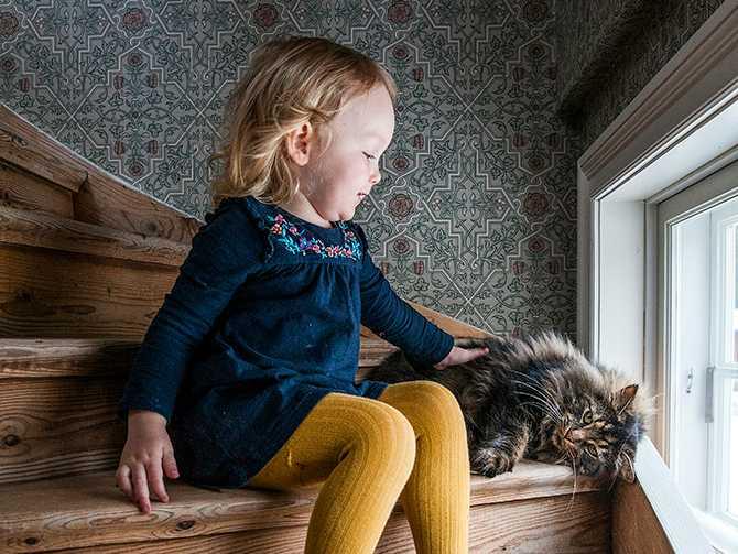 Wera och katten Stisse i trappan, tapeten från Boråstapeter, serie Anno.