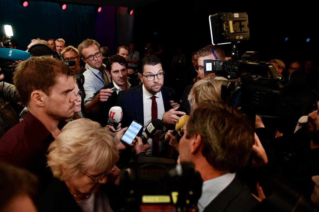 Sverigedemokraternas Jimmie Åkesson efter SVT:s partiledardebatt.
