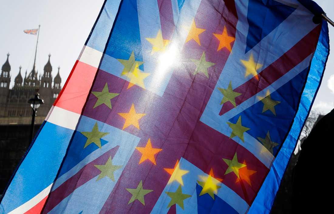 Demonstranter viftar med en Storbritanniens flagga och en EU-flagga utanför parlamentet i London.