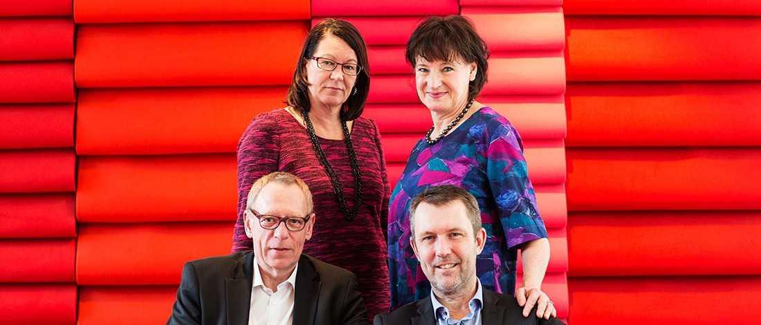 Kommunals ledning Övre raden: Lenita Granlund och Annelie Nordström. Nedre raden: Anders Bergström och Per Holmström.