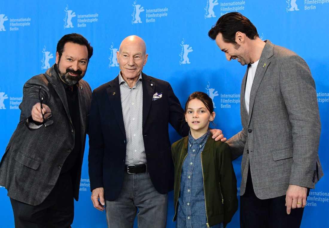 Regissören James Mangold tillsammans med skådespelarna Patrick Stewart, Dafne Keen och Hugh Jackman.