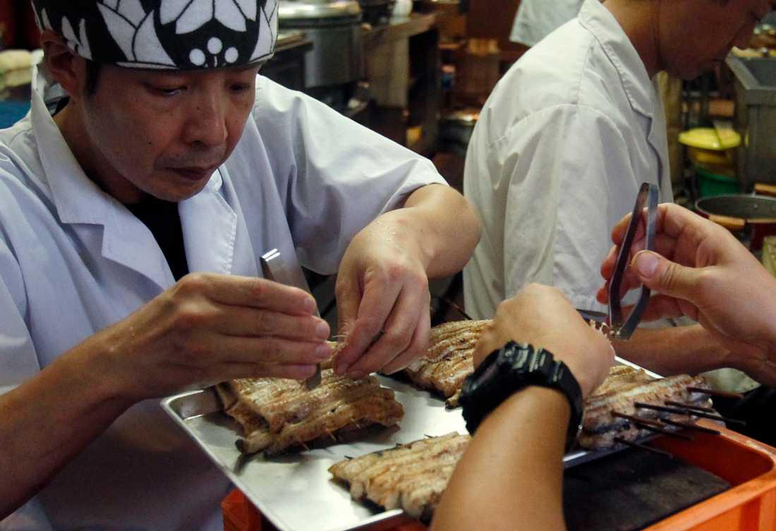 Arbetare på den japanska lyxrestaurangen Hashimoto rensar europeisk ål innan det är dags för grillning. Europeisk ål är en delikatess i Japan vars egna bestånd av japansk ål är mer eller mindre utfiskat. Där anses den europeiska ålen vara både en delikatess och en fisk som ökar fertiliteten. Arkivbild.
