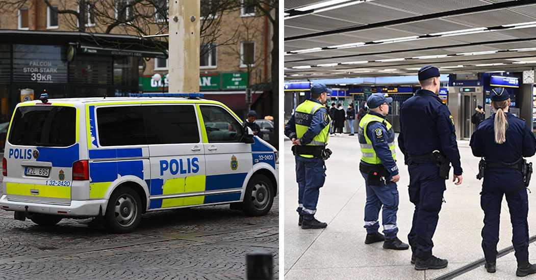 Polisen letar efter misstänkt rånare längs gröna tunnelbanelinjen. Här vid knutpunkten Gullmarsplan.
