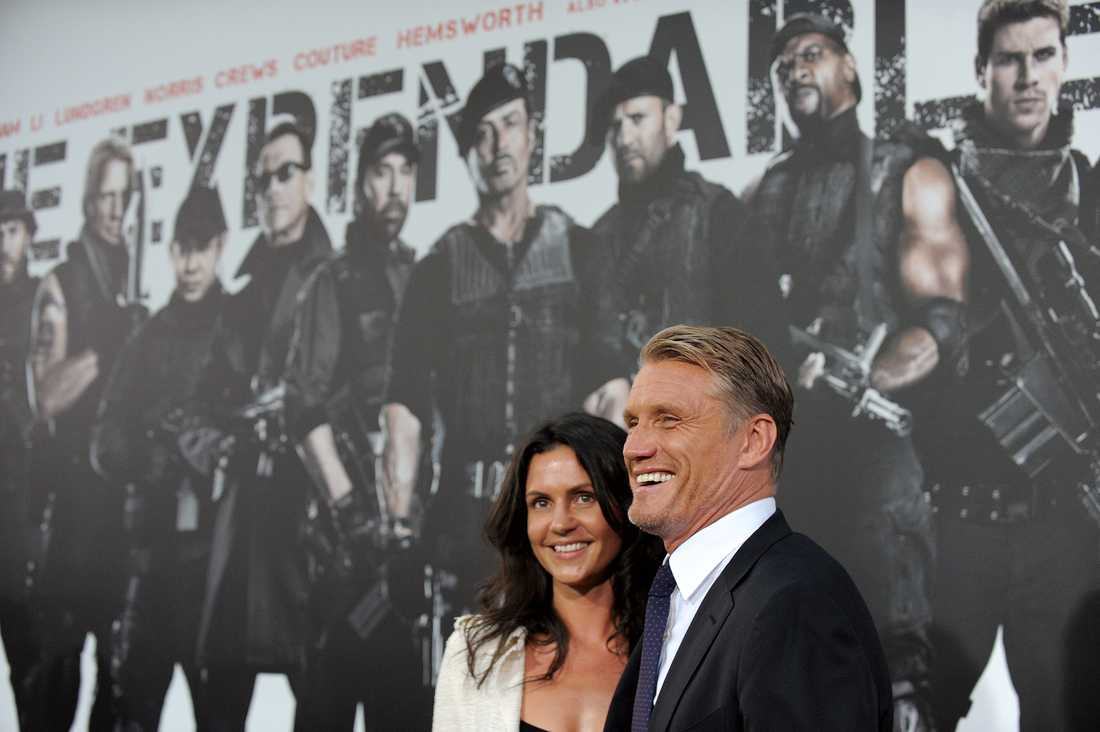 """Dolph Lundgren tillsammans med Jenny på premiären av """"Expendables 2"""" i Los angeles."""