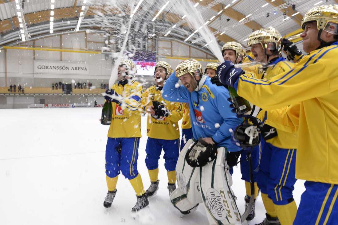 Spelarna firar Sveriges senaste VM-guld vid finalen mot Ryssland i Sandviken för två år sedan. Då blev VM en sportslig framgång för hemmanationen, men höga biljettpriser dämpade publikintresset. Nu tas nya tag, med Vänersborg som huvudort.