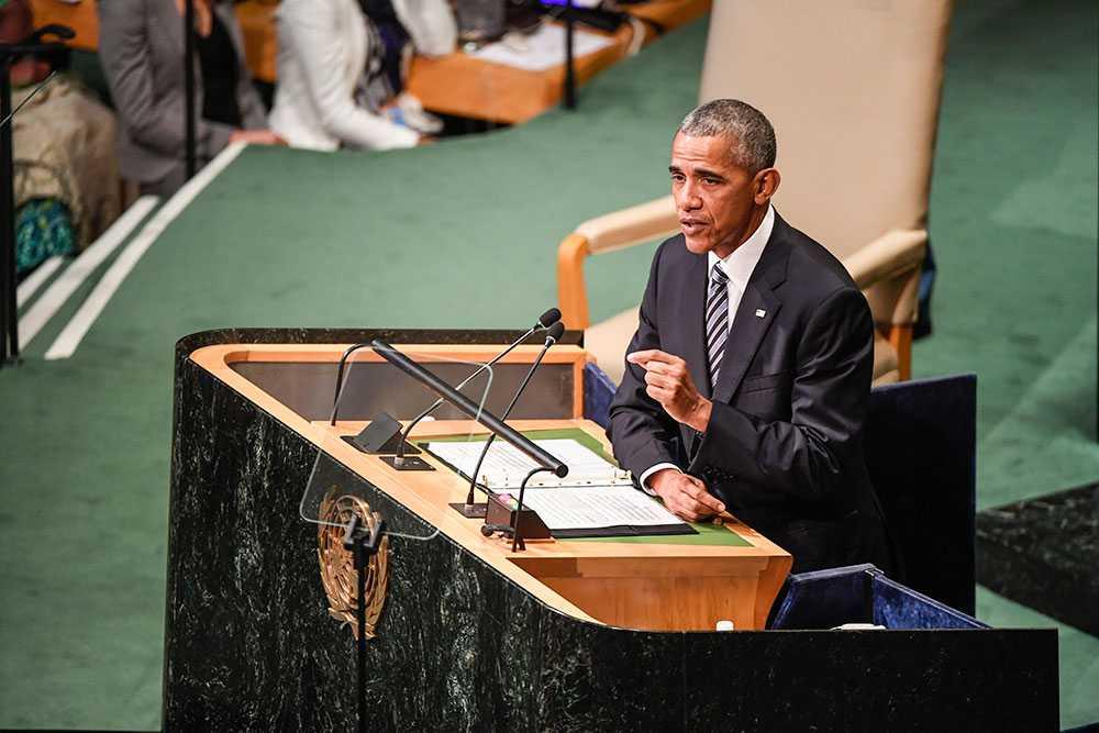 President Obama i talarstolen.