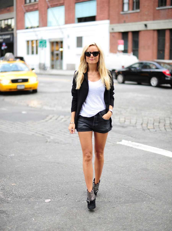 Kavaj - Topshop, Shorts - egen design, T-shirt - Zara, Boots - Isabel Marant.