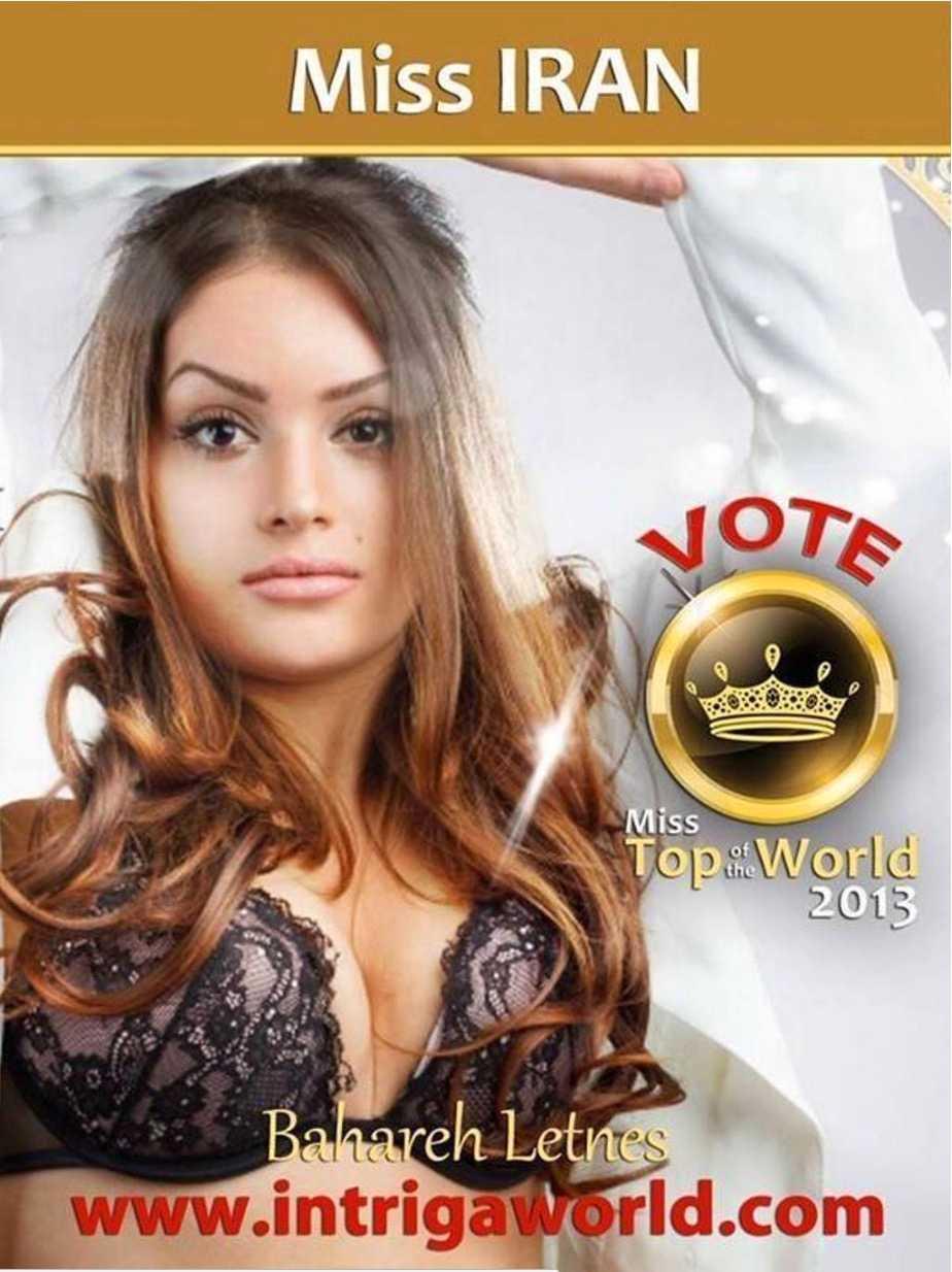 Bahareh Letnes tävlade i Miss Top of the World 2013, och kom då tvåa.
