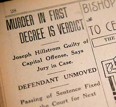Artikel om dödsdomen mot Joe Hill 1914. Han avrättades året därpå.