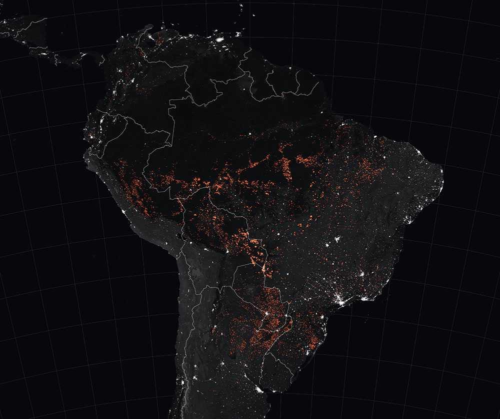 Brandhärdarna. NASA konstaterar en tydlig ökning i antalet bränder i regionen.