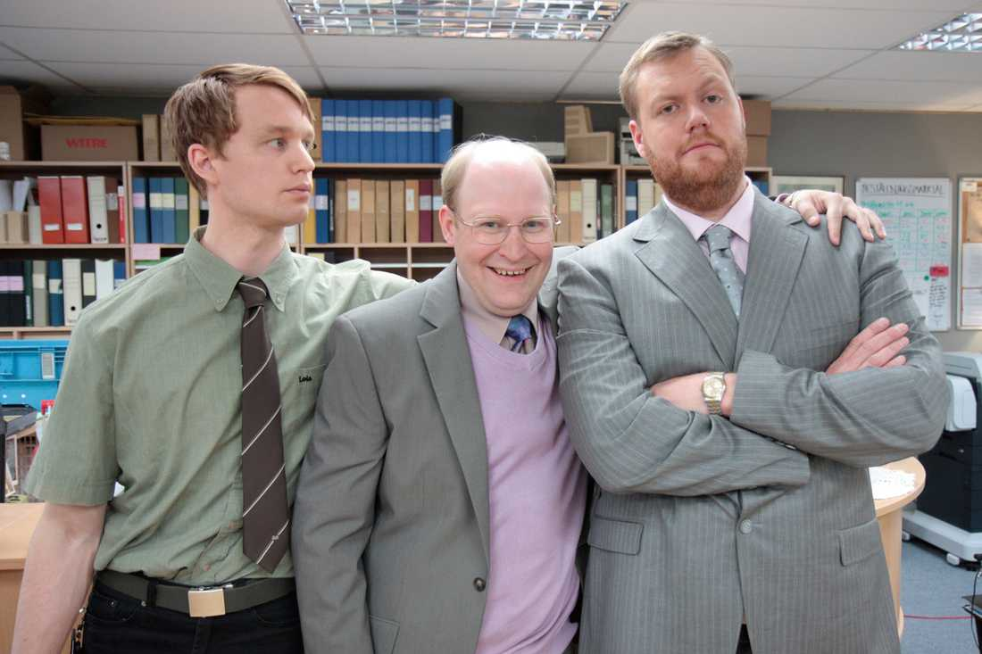Kontoret. Inspelning av kontoret.  Henrik Dorsin (mitten) Björn Gustavsson (t v) och Kristoffer Appelquist (t h).