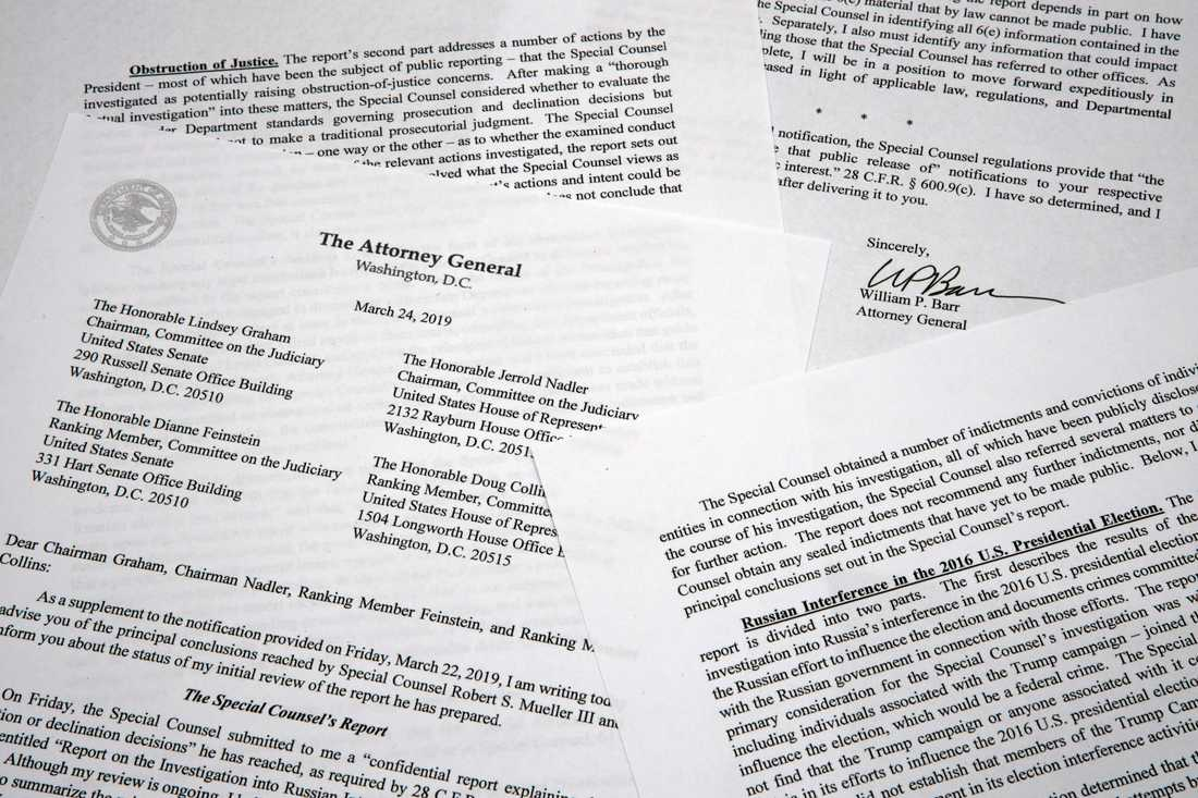 En kopia av brevet med sammanfattningen av den så kallade Rysslandsutredningen från USA:s justitieminister William Barr.