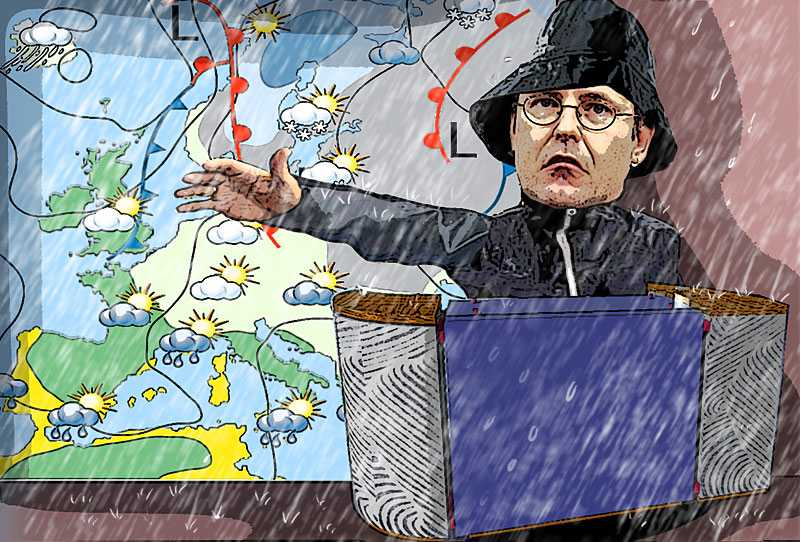 VÄDERMAN Anders Borg verkar fortfarande tro att krisen är en väderprognos. Det måste sluta nu. Regeringen måste agera. Illustration : PAUL WALLANDER