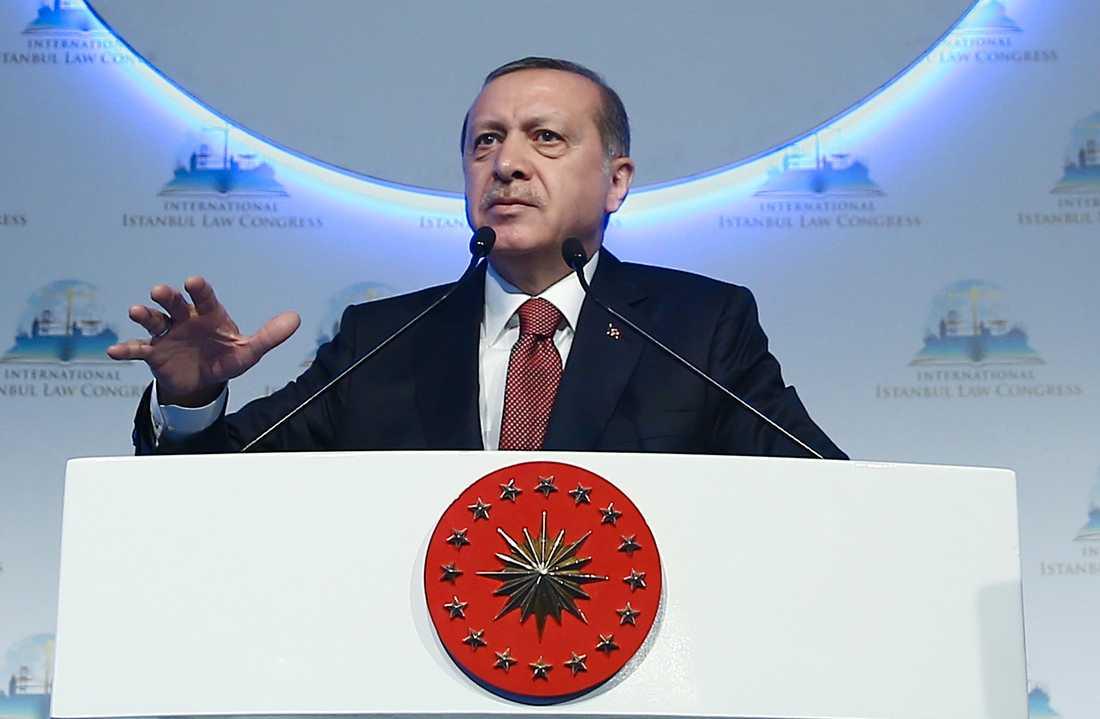 Turkiets president Recep Tayyip Erdoğan. Regimtrogen media i Turkiet har nyligen hängt ut fyra svenska riksdagsledamöter.