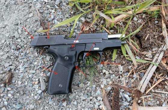 Pistolen som användes i skjutningen hittades av polisen på platsen.