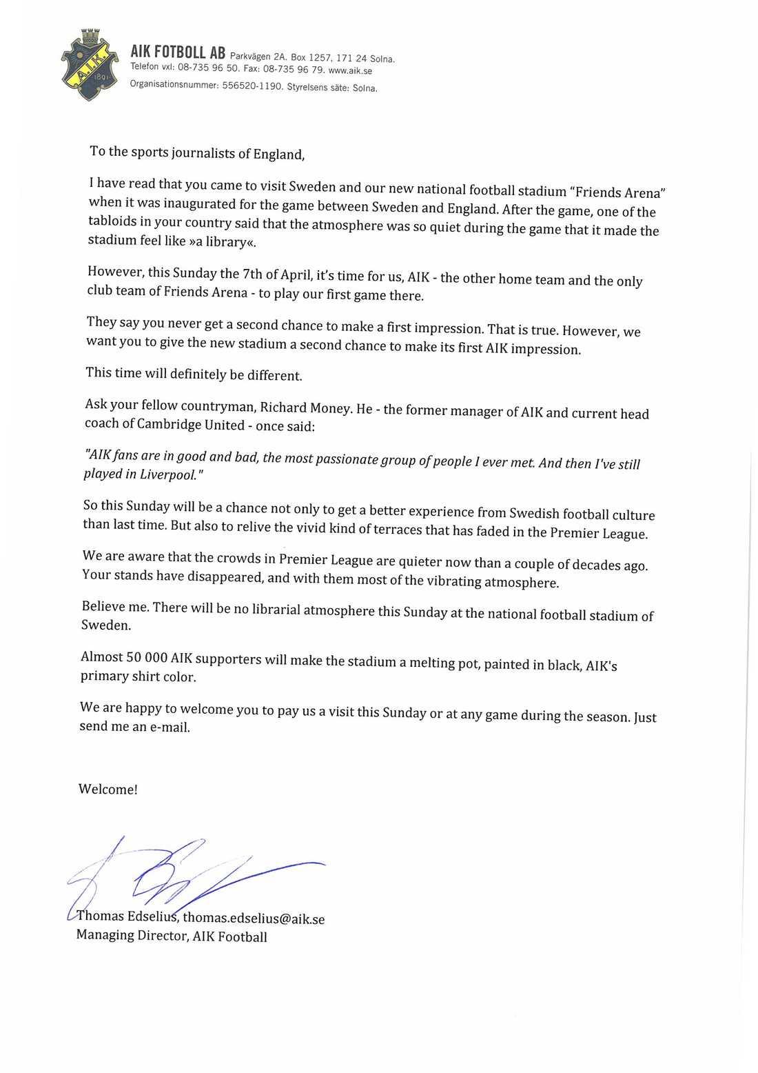 AIK:s brev till engelska journalisterna. OBS! Klicka på brevet inne i artikeln för större version!