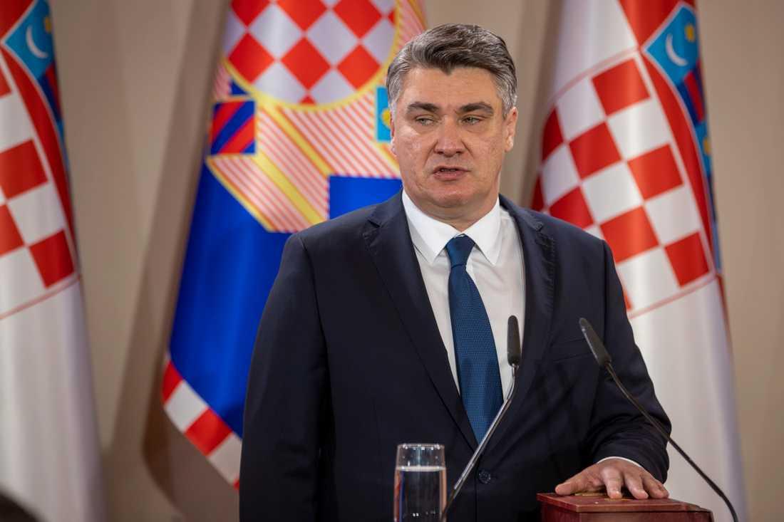 Kroatiens president Zoran Milanović då han svors in på sin post den 18 februari i år.