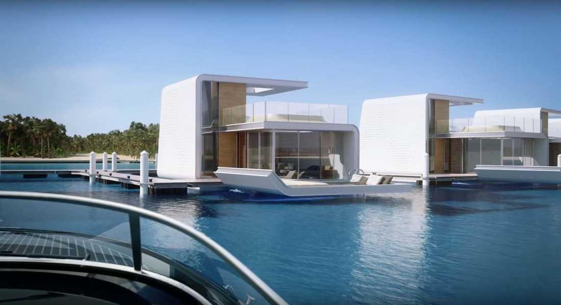 """4 km från Dubais kust har 42 flytande lyxvillor byggts, kallade """"de flytande sjöhästarna"""""""