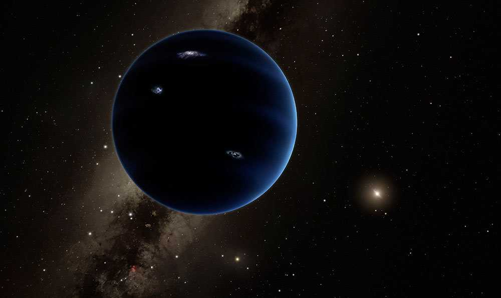 Så här kanske den mystiska nionde planeten i vårt solsystem ser ut. Den avlägsna stjärnan i bakgrunden är solen.