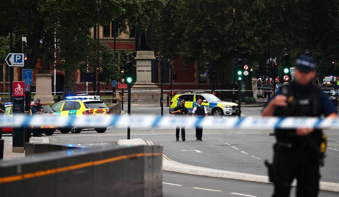 En man har gripits efter att ha kört in mot säkerhetsbarriärerna med en bil utanför parlamentet i London.