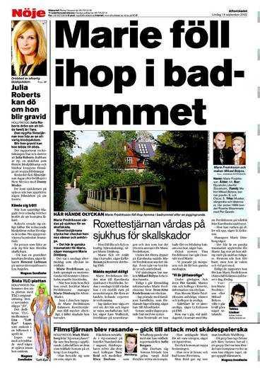 Aftonbladet skrev i går och i förrgår om Marie Fredrikssons insjuknande.