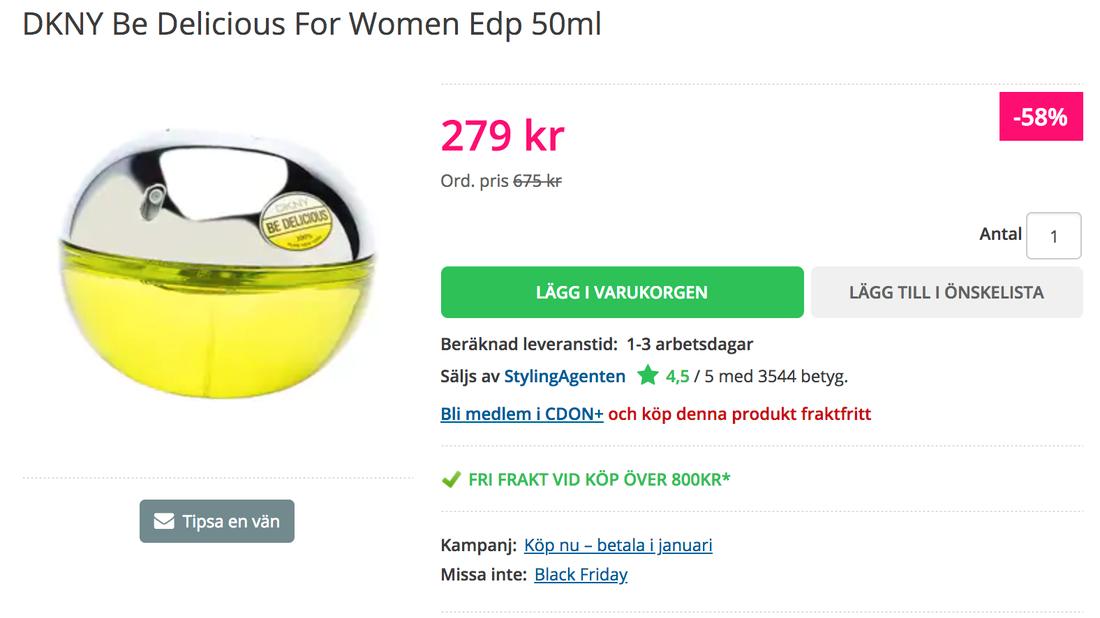 58 procent kan man spara om man köper en parfym hos Cdon, via Stylingagenten. Det ordinarie priset har dock aldrig existerat.