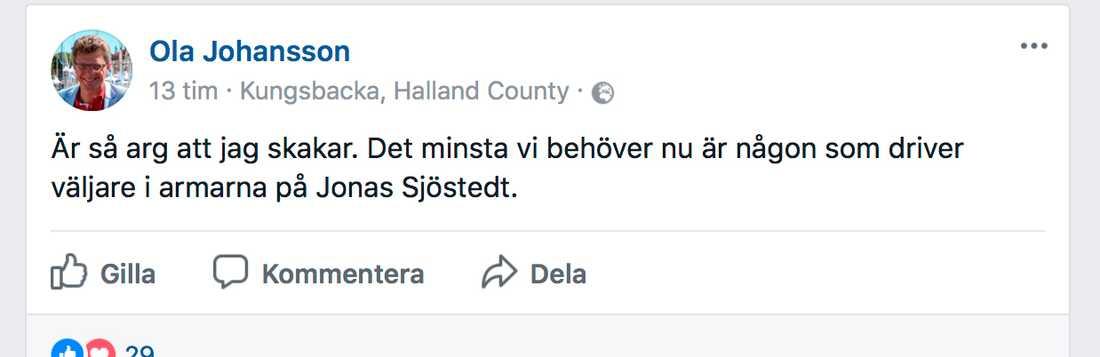 Skärmavbild från Facebook.